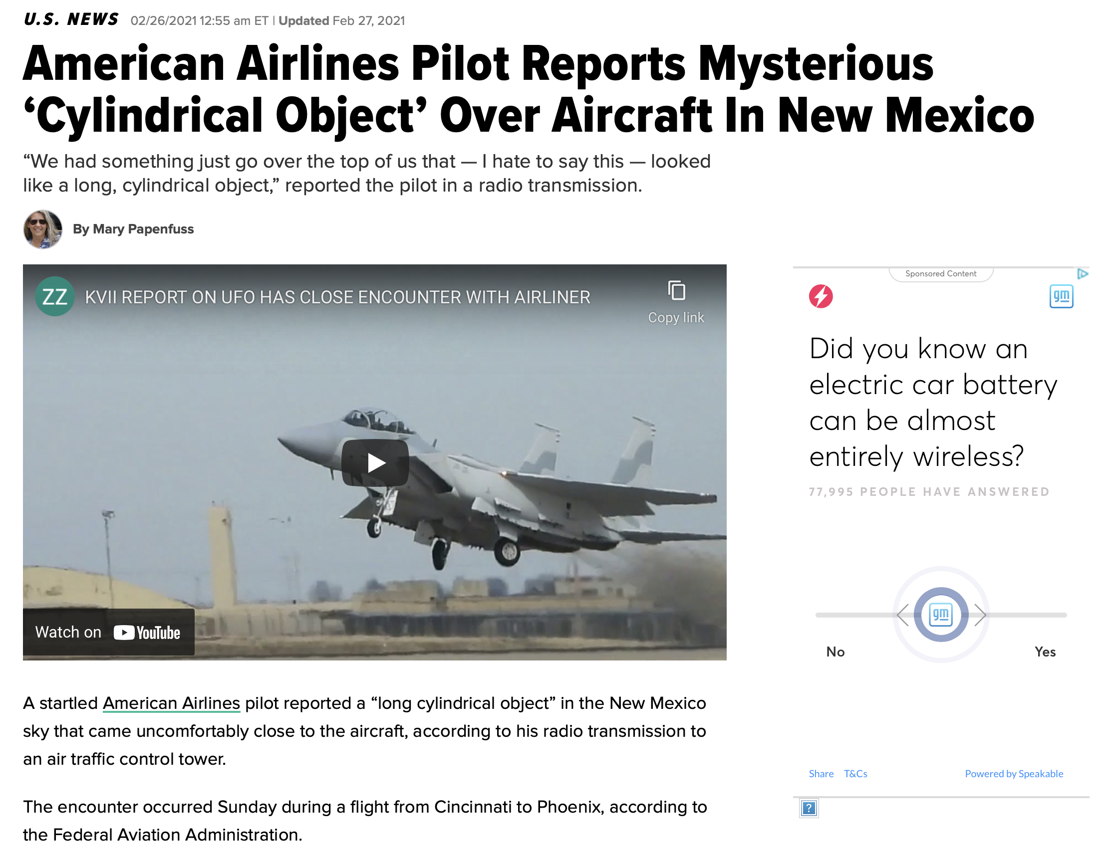 American Airlines Pilot Reports Mysterious 'Cylindrical Object' Over Aircraft In New Mexico